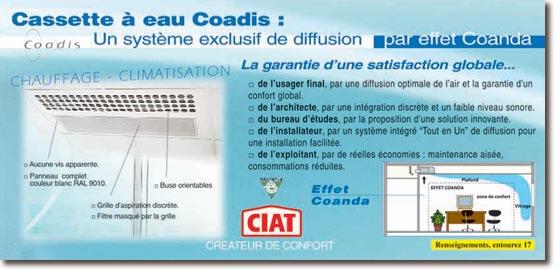 ciat chauffage climatisation cassette eau coadis. Black Bedroom Furniture Sets. Home Design Ideas