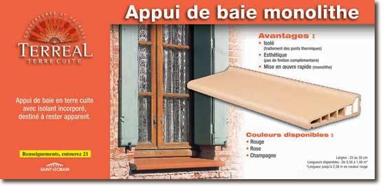 terreal facades appui de baie en terre cuite monolithe. Black Bedroom Furniture Sets. Home Design Ideas