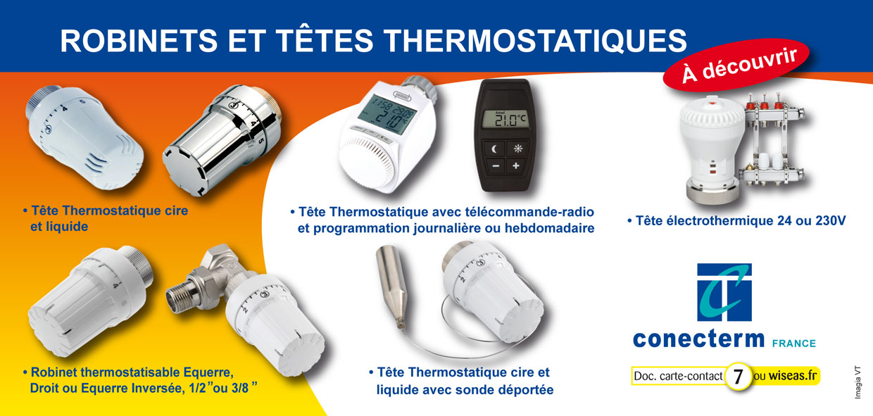 Conecterm france robinets thermostatiques - Robinets thermostatiques programmables ...