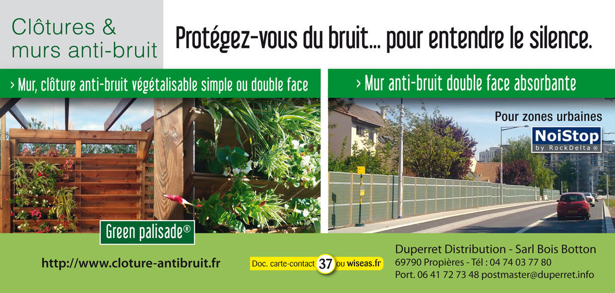 Duperret distribution green palisade noistop for Solution anti bruit appartement