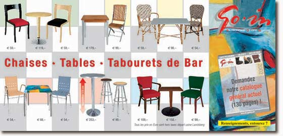 Chaises, tables, tabourets