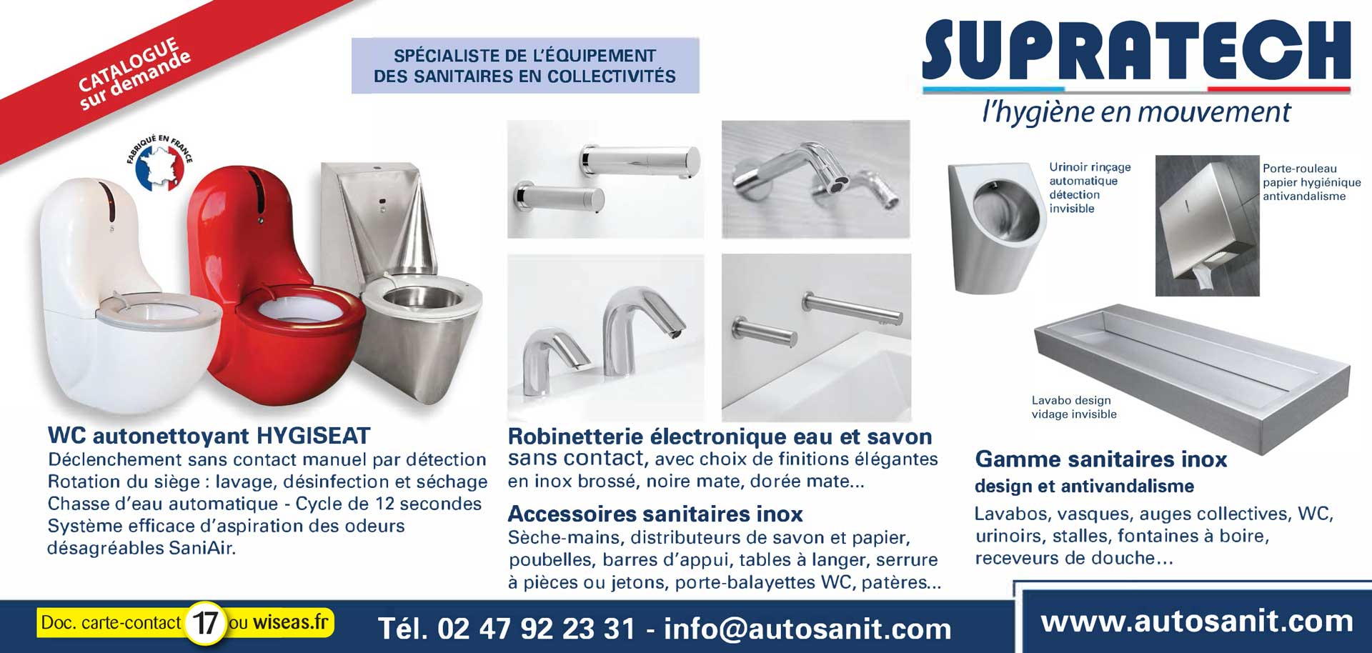 WC Hygiseat - robinetterie - lavabos - vasques inox